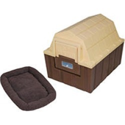 ASL Solutions DP Hunter Insulated Dog House with a Fleece Bed, Brown