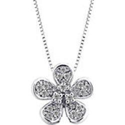 0.15 CT. T.W. 14K White Gold Round Diamond Flower Pendant I,I1