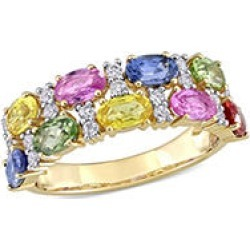 3.42 CT. T.G.W. Multicolor Sapphire Two Row Ring in 14k Yellow Gold 5 found on Bargain Bro from Sam's Club for USD $630.04