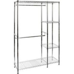 "Seville Classics Steel Wire Adjustable Garment Rack with Shelves, 48"" W x 16"" D x 72"" H"