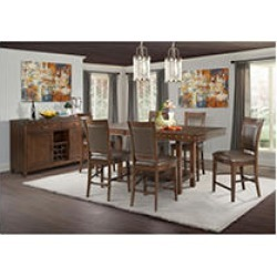 Pruitt Counter 8PC Dining Set-Table, 6 Counter Side Chairs & Server