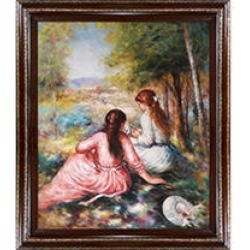Hand-painted Oil Reproduction of Pierre Auguste Renoir's In The Meadow (Picking Flowers).