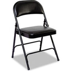 Alera Steel Folding Chair w/Padded Back and Seat, Graphite - 4 pack
