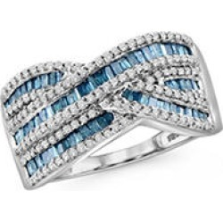 1.00 CT. Blue and White Diamonds Waves Ring in SS 7 found on Bargain Bro from Sam's Club for USD $379.24