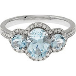 TW .20CT 8X6MM oval aquamarine triple with diamond ring in 14K white gold, Size 8 found on Bargain Bro from Sam's Club for USD $280.44