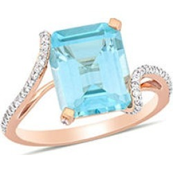 5.57 CT. T.G.W. Blue Topaz and 0.20 CT. T.W. Diamond Bypass Cocktail Ring in 14k Rose Gold 5.5 found on Bargain Bro from Sam's Club for USD $493.24