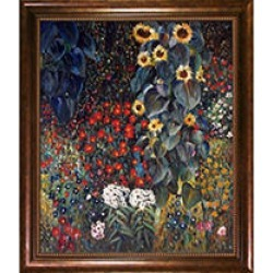 Hand-painted Oil Reproduction of Gustav Klimt's Farm Garden with Sunflowers.