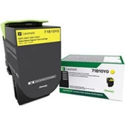 Lexmark 71B10Y0 Unison Toner, 2300 Page-Yield, Yellow