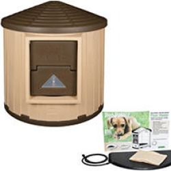 ASL Solutions Insulated Colossal Round Barn CRB Dog Palace with Floor Heater, Tan/Brown found on Bargain Bro India from Sam's Club for $379.98