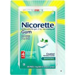 Nicorette Nicotine Gum Spearmint Flavor Coated 4mg Stop Smoking Aid (200 ct.)