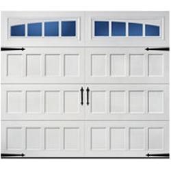 Hillcrest 1000 Short Recessed Panel Garage Door - White 8 x 7 Arched Thames Window