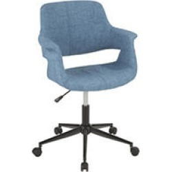 Vintage Flair Mid-Century Modern Office Chair in Blue with Black Metal Base