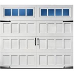 Hillcrest 2000 Short Recessed Panel Garage Door - White 9 x 8 Thames Window