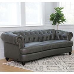 Westlake Tufted Top Grain Leather Sofa, Grey