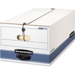 STOR/FILE Storage Box, Button Tie, Legal, White/Blue, 12/Carton