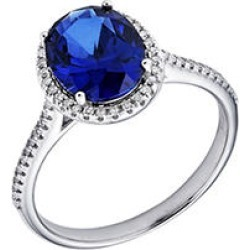 Sterling Silver Lab Created Blue Sapphire and 0.16 CT. T.W. Diamond Ring 9 found on Bargain Bro from Sam's Club for USD $87.40