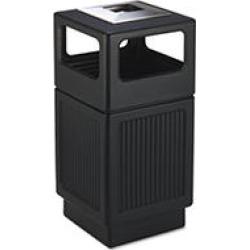 Safco - Canmeleon Ash/Trash Receptacle, Square, Polyethylene, 38gal - Textured Black