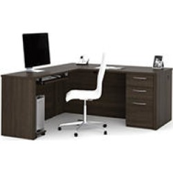 Bestar Embassy OfficePro 60000 L-shaped desk, Dark Chocolate