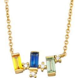 Rainbow Sapphire and Diamond Necklace in 14k Yellow Gold