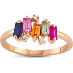 Rainbow Sapphire and Diamond Ring in 14k Rose Gold 7