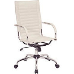 OSP Home Furnishings Trinidad High Back Office Chair with Fixed Padded Arms and Chrome Finish Base and Accents in Cream found on Bargain Bro India from Sam's Club for $169.98