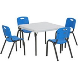 """Lifetime Children's Combo - 29"""" Commercial Grade Table and (4) Stack Chairs, Dragonfly Blue"""