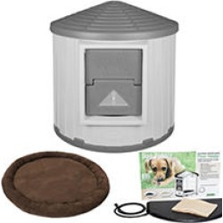 ASL Solutions Insulated Colossal Round Barn Dog House CRB Dog Palace with Floor Heater and Bed, Gray