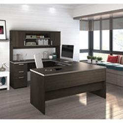 Bestar Ridgeley U-shaped Desk, Dark Chocolate