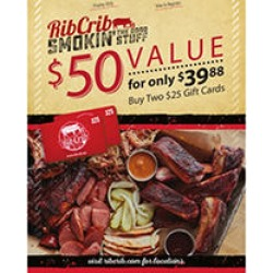 Rib Crib Gift Cards $50 Value Gift Cards - 2 x $25