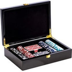Poker Set with 200, 11.5 gram Clay Composite Chips, Two Decks of Playing Cards & 5 Poker Dice in a High Lacquer Case found on GamingScroll.com from Sam's Club for $169.78