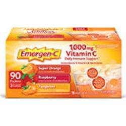 Emergen-C Variety Pack Dietary Supplement Drink Mix with 1000mg Vitamin C, 3 Flavors (90 ct, 32 oz. pks.)