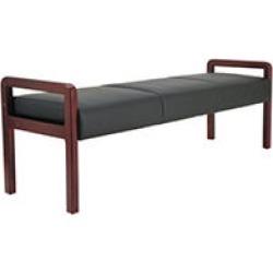 Alera Reception Lounge WL Series Bench, Black/Mahogany