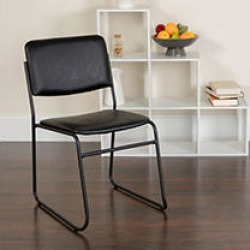 Flash Furniture - Hercules Vinyl Stacking Chair with Sled Base - Black