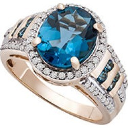London Blue Topaz and Diamond Ring in 14KY 6 found on Bargain Bro from Sam's Club for USD $379.24