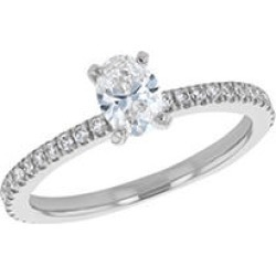 S Collection Bridal 0.75 CTTW Oval Diamond Ring In 14K White Gold (SI2, H-I) 9