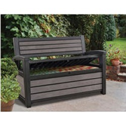 Keter Hudson Plastic Storage Bench Deck Box, Brown