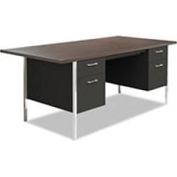 """Alera 72""""W Double Pedestal Metal Desk, Walunt/Black"""