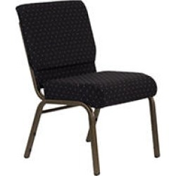 Flash Furniture - Hercules Extra Wide Stacking Church Chair with Gold Vein Frame - Black - 40 Pack