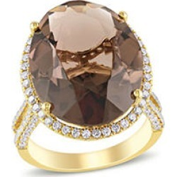 Allura 13.8 CT. T.G.W. Smokey Quartz and 1 CT. T.W. Diamond Halo Cocktail Ring in 14k Yellow Gold 7 found on Bargain Bro from Sam's Club for USD $1,899.24