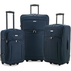 Elite Luggage Gondola 3-Piece Softside Rolling Luggage, Navy