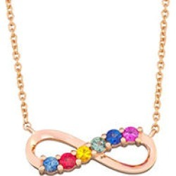 Rainbow Sapphire Infinity Necklace in 14k Rose Gold