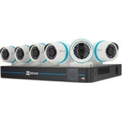 EZVIZ 8 Channel 4MP HD IP NVR Security System with 2TB Hard Drive, 6 4MP Weatherproof Bullet Cameras with 100ft Night