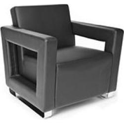 OFM Distinct Series, Polyurethane Soft Seating Lounge Chair with Chrome Base, Model 831, Black