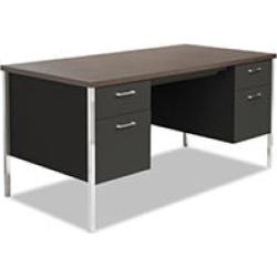 """Alera 60"""" Double Pedestal Steel Desk, Black/Walnut"""
