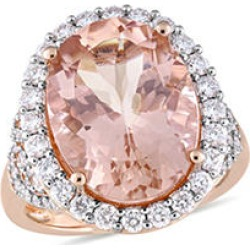 Allura 9.7 CT. T.G.W. Morganite and 1.4 CT. T.W. Diamond Halo Cocktail Ring in 14k Rose Gold 8.5