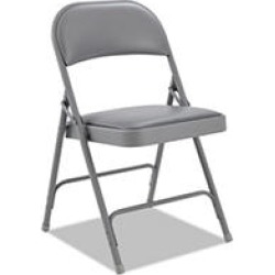 Alera Steel Folding Chair w/Padded Back and Seat, Light Gray - 4 pack