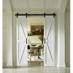 "Four Seasons Outdoor Product 36"" x 84"" Split Barn Door, Classic White Board and Batten"