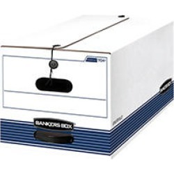 Bankers Box STOR/FILE Storage Box, Button Tie, Letter, White/Blue, 12ct.