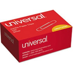 Universal® Smooth Paper Clips, Jumbo, Silver, 100/Box, 10 Boxes/Pack