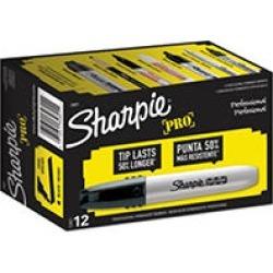 Sharpie Professional Permanent Marker, Black (Chisel Tip) - Dozen